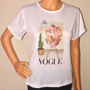 Vogue graphic cartoon T-shirt